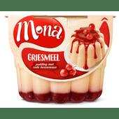 Mona Pudding griesmeel met rode bessensaus