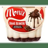Mona Pudding dame blanche met chocoladesaus