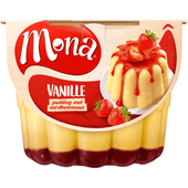 Mona Pudding vanille aardbeiensaus