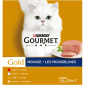 Gourmet Gold mousse tonijn-lever-kalkoen-rund 8 stuks