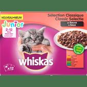 Whiskas Kattenvoer vlees in saus 2-12 maanden 12 stuks