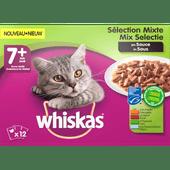 Whiskas Kattenvoer mix selectie in saus 7+ jaar 12 stuks