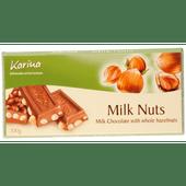 Karina Chocoladereep melk & hele hazelnoot