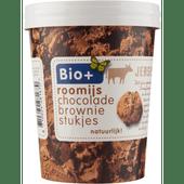 Bio+ Roomijs chocolade-browniestukjes