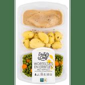 Daily Chef Worteltjes en erwtjes met kipfilet krieltjes en peperroomsaus