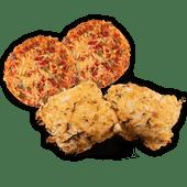 Mini pizzabroodje of kaas uien-kruier