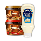 Wijko kant & klare satésaus of Heinz mayonaise