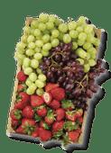 Spaanse zoete aardbeien of pitloze rode of witte druiven