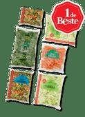 1 de Beste snack worteltjes, fijne soepgroente, ijsbergsla of gewassen spinazie