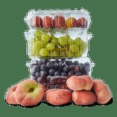 Pitloze witte of rode druiven, wilde perziken of Hollandse pruimen