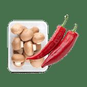 Rode punt paprika's of kastanje champignons