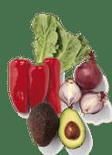 Avocado, zoete puntpaprika's, mini Romaine sla of rode uien
