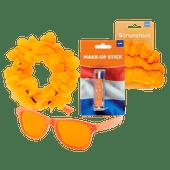 Oranje schmink, zonnebril, tiara of scrunchies