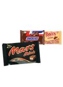 Mars, Snickers, Twix, Milky Way of Bounty mini's