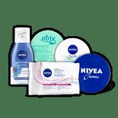 Nivea crème, oogmake-up remover double effect, reinigingsdoekjes of Atrix crème