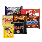 M&M's, Mars, Snickers, Twix, KitKat, Lion of Smarties