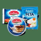 Galbani mozzarella, mascarpone of Salakis feta classic