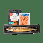 1 de Beste gerookte makreel, Noorse zalm of roze garnalen