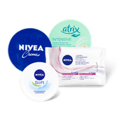 Nivea crème of reinigingsdoekjes of Atrix crème