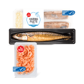1 de Beste gerookte makreel, haringfilets of roze garnalen