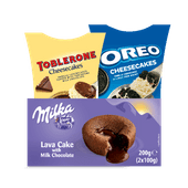 Milka lavacake of Toblerone of Oreo cheesecake