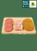 Runderhamburgers, crispy bacon vlinders of Gelderse schijven