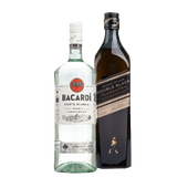Johnnie Walker Double Black Scotch whisky of Bacardi rum Carta Blanca