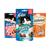 Whiskas, Catisfactions, Felix, Dentalife of Cat Yums