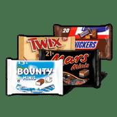 Mars, Snickers, Twix, Bounty of Milky Way mini's