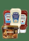 Wijko kant & klare satésaus of Heinz mayonaise of ketchup
