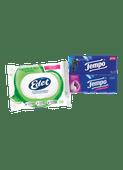 Edet vochtig toiletpapier of Tempo zakdoekjes of tissues