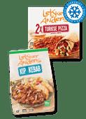 Lekker & Anders Turkse pizza, kip- of beef kebab of Mekkafood frikandellen of nuggy's