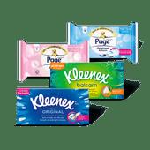 Page vochtig toiletpapier of Kleenex zakdoekjes of tissues