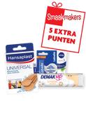 Hansaplast Universal pleisters, Labello classic, Demak'up wattenschijfjes of Nivea aloe-vera crème